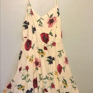 white floral print spaghetti strap dress